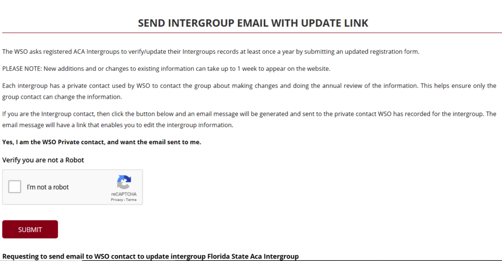 Confirm Sending Email to WSO Private Contact with Captcha