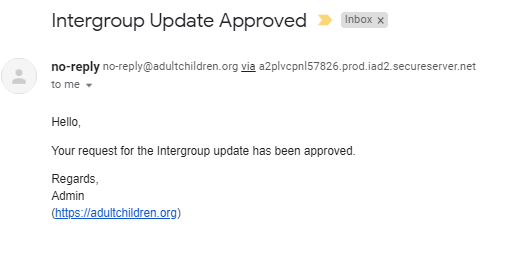 Intergroup Update Confirmed Email