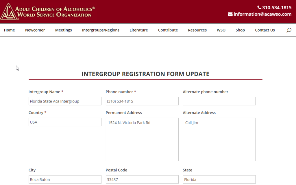 Update Iintergroup Form